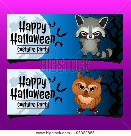 Two horizontal card for happy Halloween