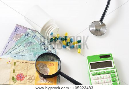 Magnifying Glass On Malaysian Bank Note with Spill Out of Capsule Pill, Stethoscope and Calculator