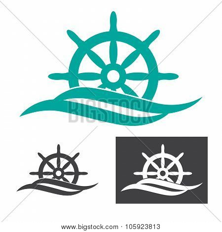 concept logo with ship rudder and waves
