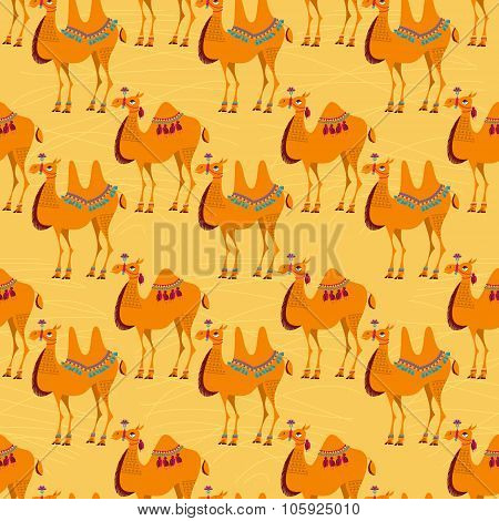 Camels With Traditional Decoration. Seamless Background Pattern.
