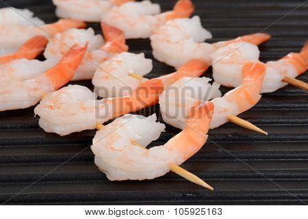 macro shrimp skewers