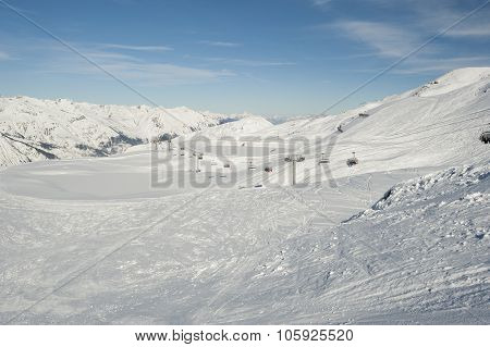 View Of A Ski Slope With Chairlift
