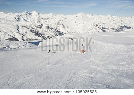 View Of A Ski Slope In Mountains