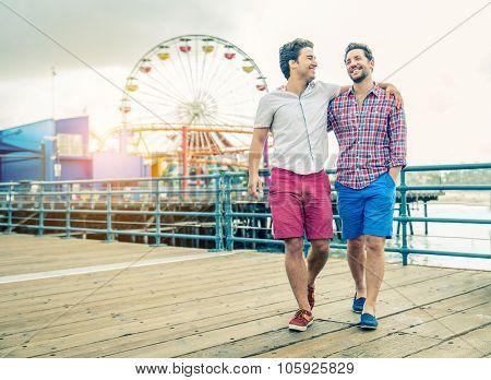 Homosexual Couple Walking Outdoors
