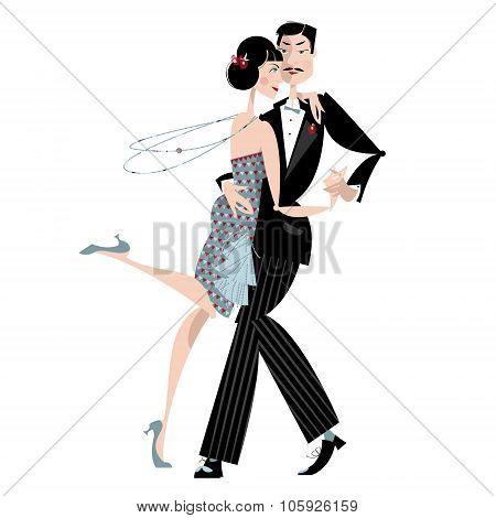 Dancing Couple. Art Deco. Retro Tango.