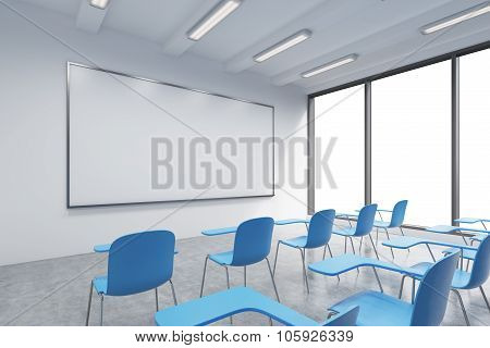 A Classroom Or Presentation Room In A Modern University Or Fancy Office. Blue Chairs, A Whiteboard O