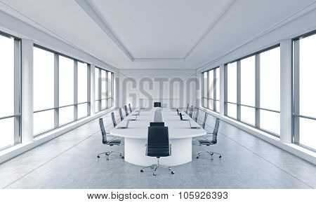 A Bright Modern Panoramic Meeting Room In A Modern Office With White Copy Space In Windows. The Conc
