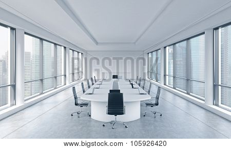 A Bright Modern Panoramic Meeting Room In A Modern Office With Singapore View. The Concept Of The Me