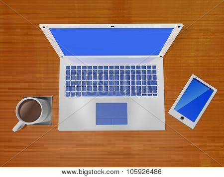 Laptop Coffee Mug And Smart Phone