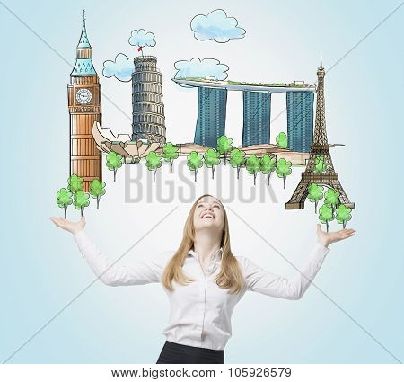 A Beautiful Woman Is Looking Up By Dreaming About The Visiting Of The Most Famous Places In The Worl