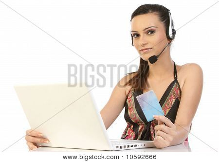 Woman shopping on online with credit card