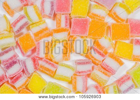 Colorful Gummy Candy Rainbow On White Background