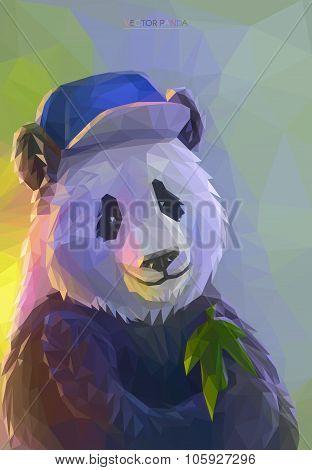 Cool panda rapper in polygonal style