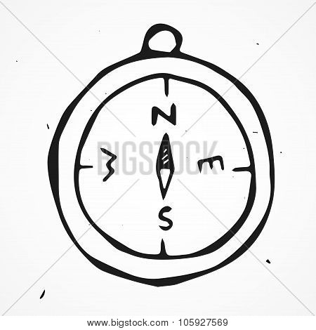 Vector antique compass, hand drawn