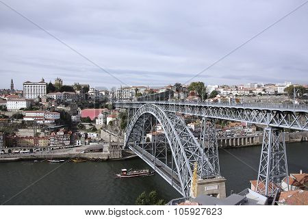 Portugal. The Bridge Through The River Douro.