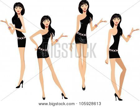 girl in a black dress makes various hand gestures