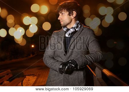bokeh effect - elegant man during the night