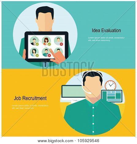 Concept for web banners and promotions. Flat design concept for job recruitment