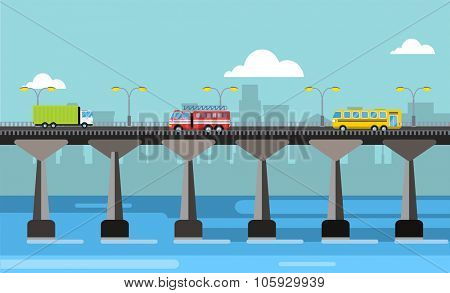 Modern bridge vector illustration. Vector bridge silhouette down town city view. Outdoor travel background. Travel bridge vector construction. Bridge construction, fast river, travel, transportation