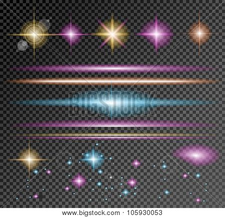 Vector Sparkle Collection with a lot of different Shapes: circular lightning , point of lights, sparkle bars, cross sparkles. Ready to copy and past on whatever background