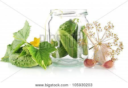 Ingredients For Pickled Or Preserved Cucumbers On White