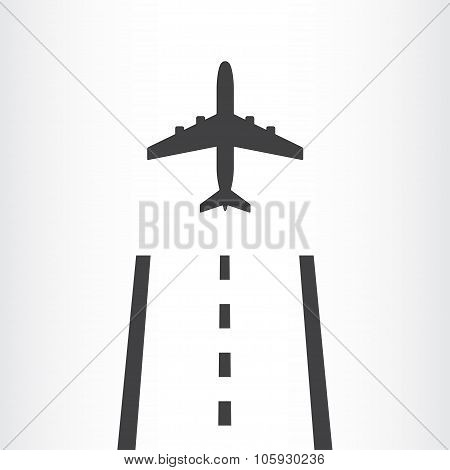 Airplane takes off from a runway icon. Vector illustration.