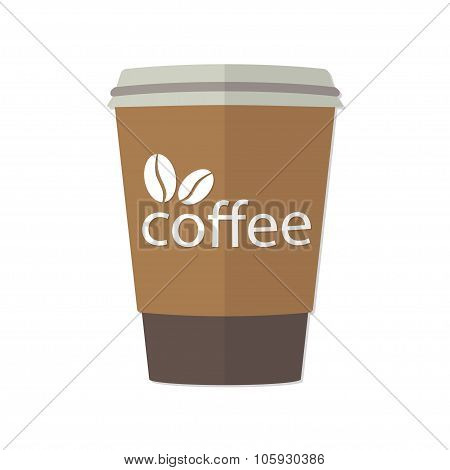 Take-out or takeaway coffee cup. Vector illustration.