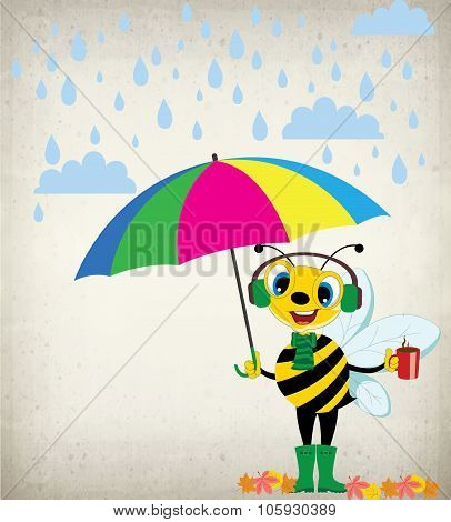 A Rainy Day-cartoon Bee