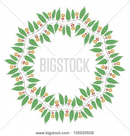 Circular blank seal made with Mango leaves graphic. Indian festive vector element.