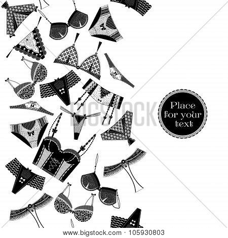 Retro Poster With A Woman Lingerie.  Black And White. Seamless Background Pattern.