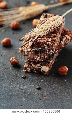 Cereal Bar With Nuts And Chocolate