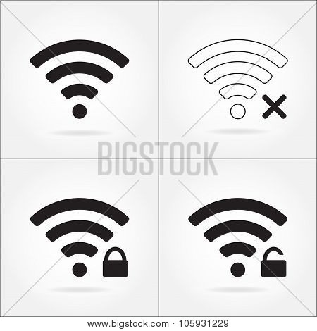 Wireless and wifi icon set for remote internet access. Podcast vector symbol.