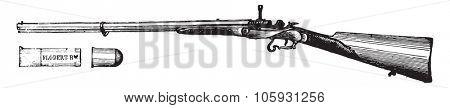 Rifle flobert movement Chassepot, vintage engraved illustration. Industrial encyclopedia E.-O. Lami - 1875.