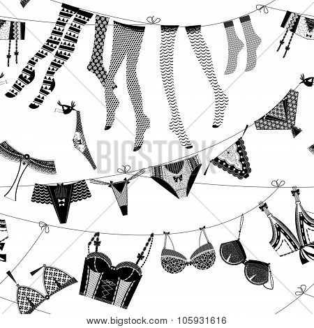 Laundry Drying On A Washing Lines. Black And White Lingerie. Seamless Background Pattern.