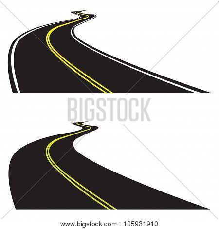 Asphalt road set isolated on white background. Vector illustration of winding road. Perspective view