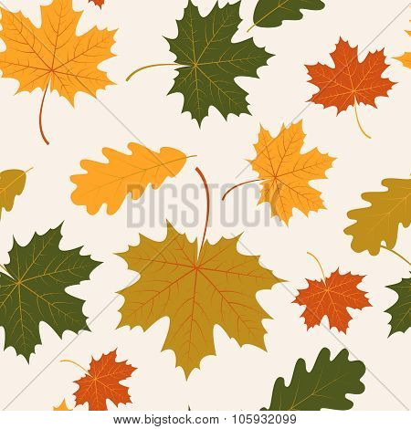 Vector seamless with autumn maple and oak leaves
