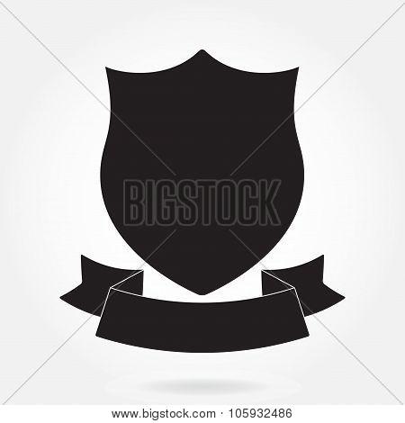 Shield and stylish ribbon. Black shield shape. Heraldic royal design. Vector illustration.