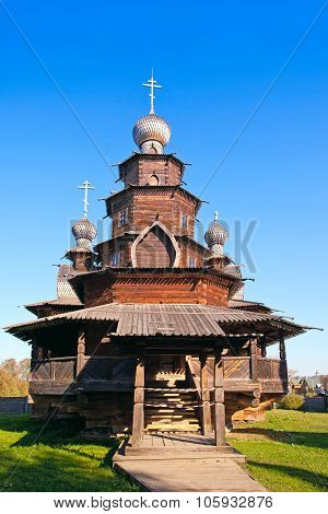 Ancient Wooden Church  In Suzdal, Russia.