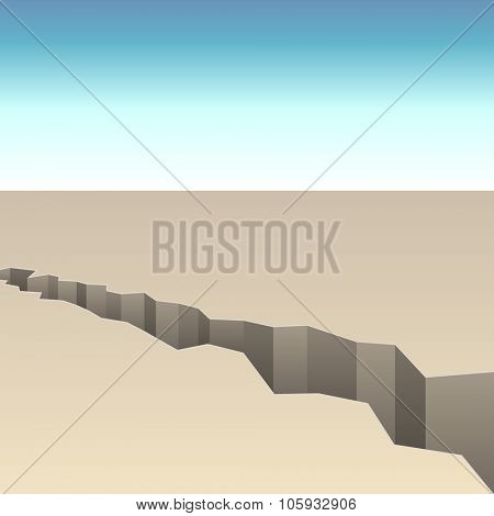 Abstract crack in the ground vector background.