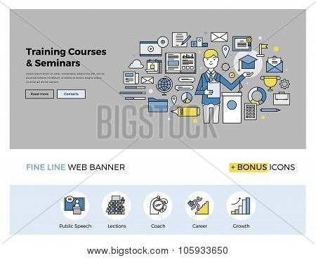 Training Courses Flat Line Banner