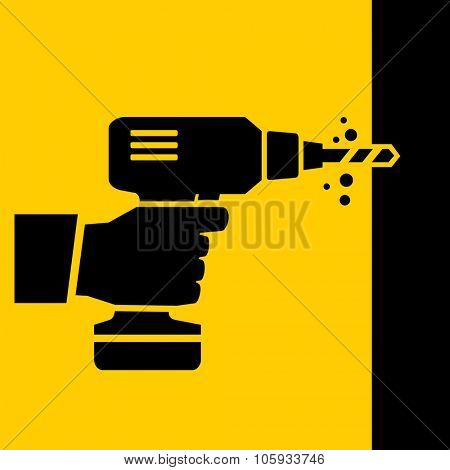 Hand holding drill machine Handy tools vector icon