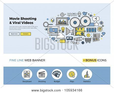 Viral Movie Shooting Flat Line Banner