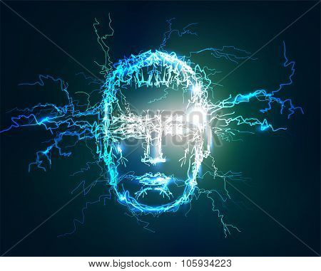 Human's face. Abstract background made of electric lighting, thunder storm effect.