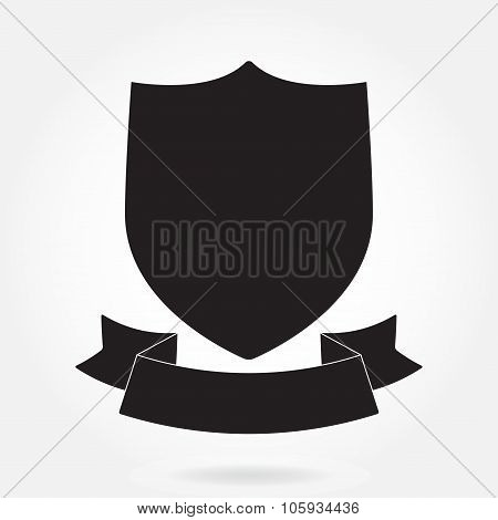 Shield and stylish ribbon. Black shield shape. Heraldic royal design. Vector illustration.