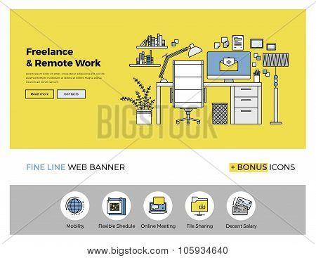 Remote Work Flat Line Banner