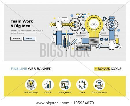 Teamwork On Big Idea Flat Line Banner