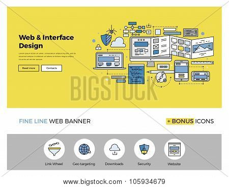 Website Design Flat Line Banner