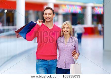 Loving couple having shopping