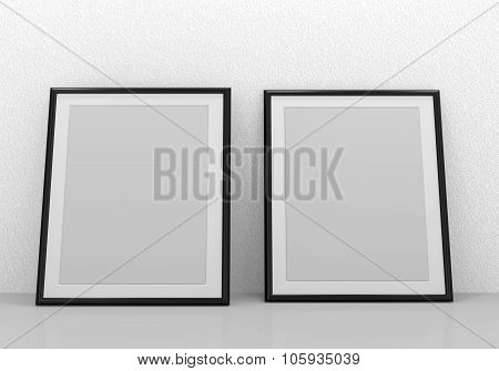 Blank black picture frames