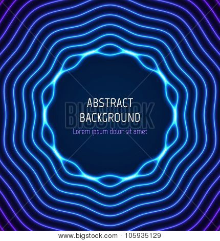Abstract blue circle border background with light effects